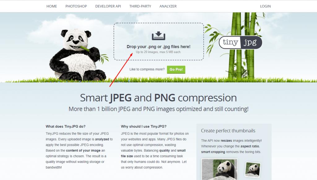 Tinyjpg adalah tools untuk mengkompress gambar sehingga mencegah terjadinya website overload