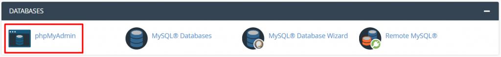 Menu PHPMyAdmin di cPanel