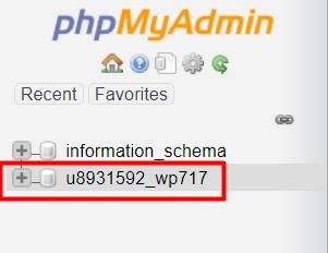 Daftar database di PHPMyAdmin