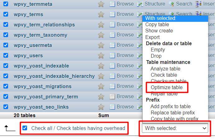 Menoptimalkan database di PHPMyAdmin