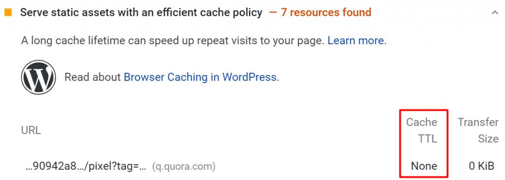 masa aktif cache tidak ditemukan pada google pagespeed insights