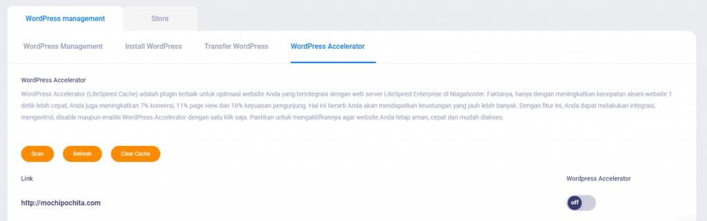 Mengaktifkan WordPress Accelerator