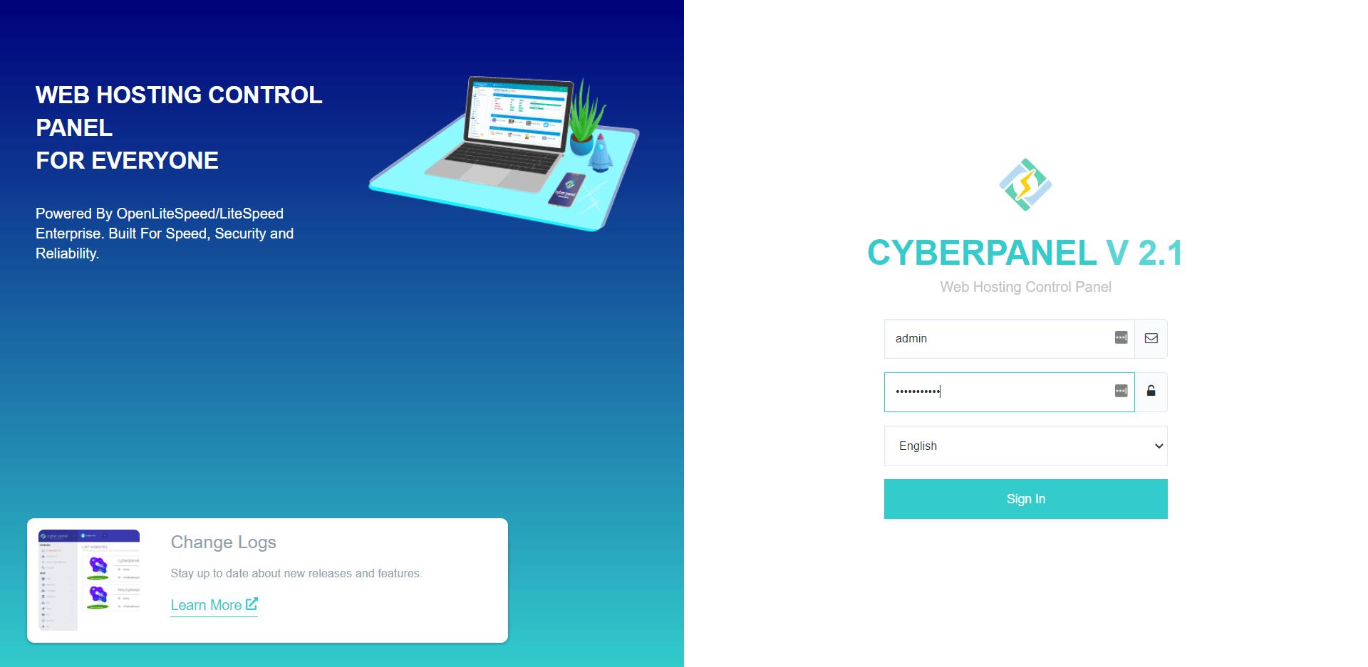 Login CyberPanel untuk Addon Domain