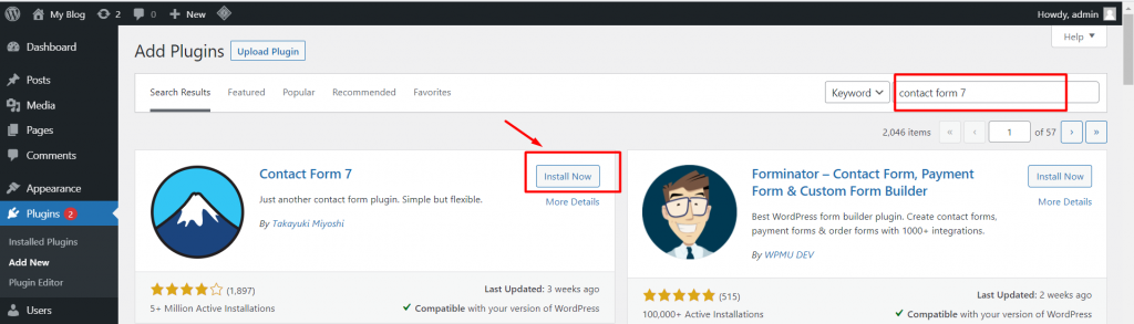 search dan install contact form 7