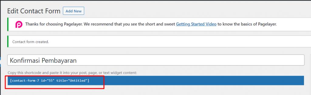 shortcode halaman konfirmasi pembayaran