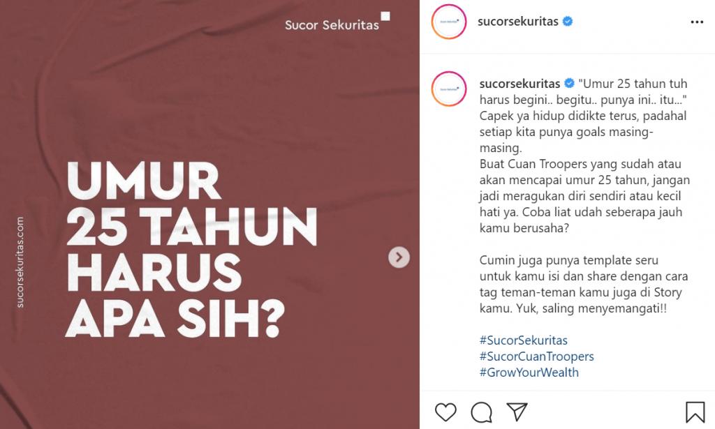 postingan instagram sucor sekuritas