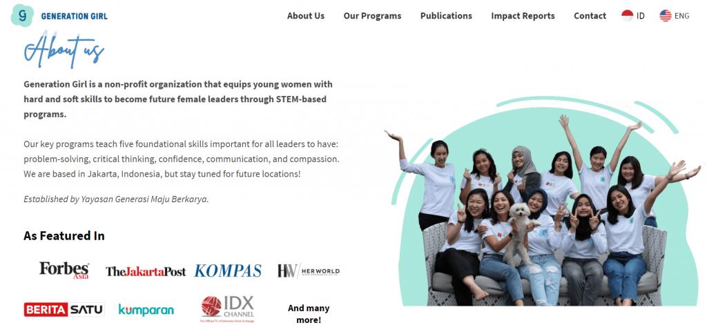 halaman utama website generation girl