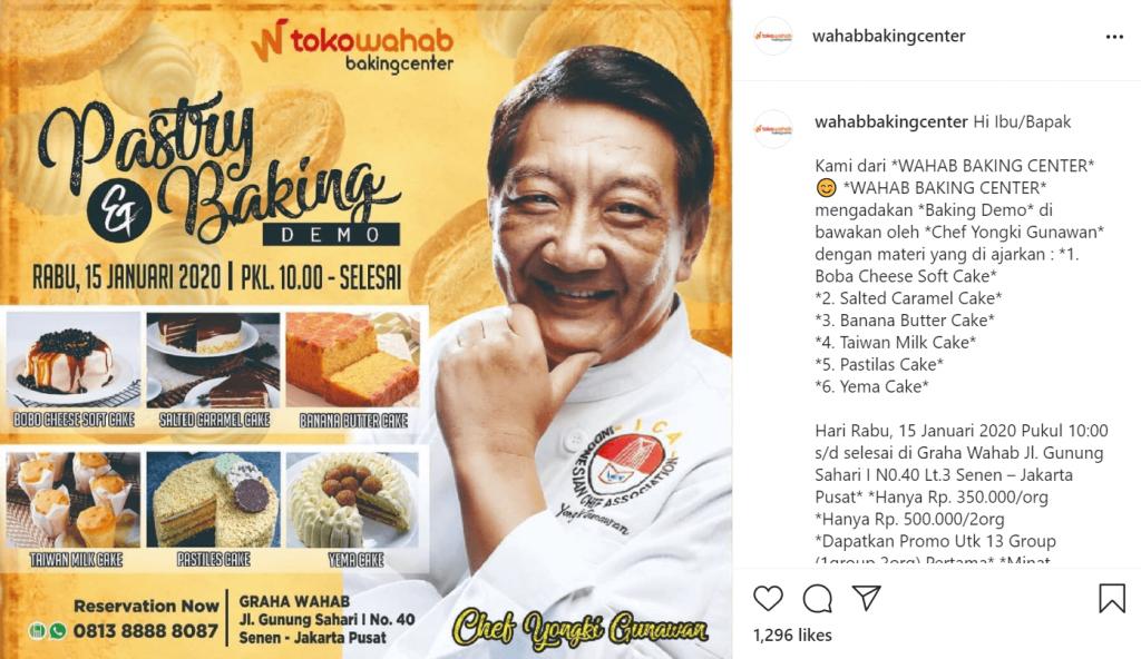 postingan instagram wahab baking center