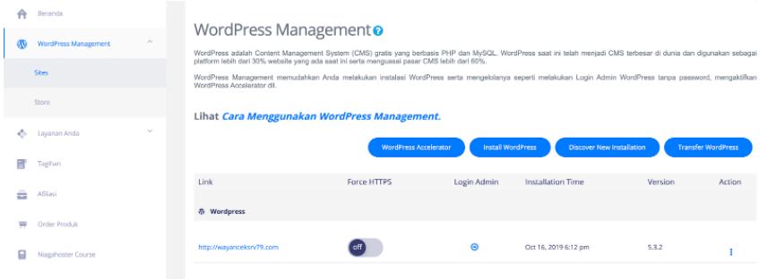 contoh dashboard WP Management untuk Managed WordPress Hosting