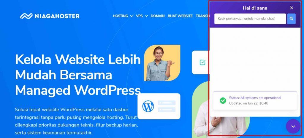 fitur live chat untuk premium support Managed WordPress
