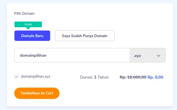 Domain gratis untuk pembelian hosting satu tahun