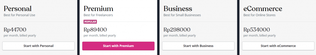 Daftar paket WordPress.com