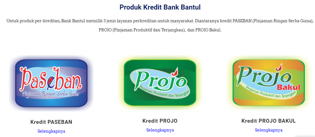 halaman produk perbankan website bank bantul