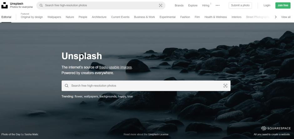Unsplash termasuk situs gambar gratis