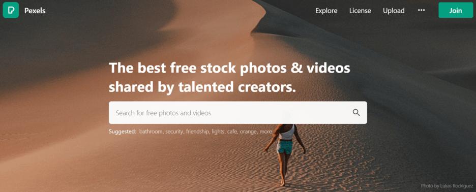 Pexels merupakan web gambar gratis