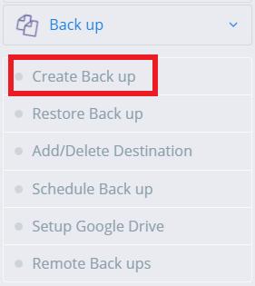 menu create backup cyberpanel