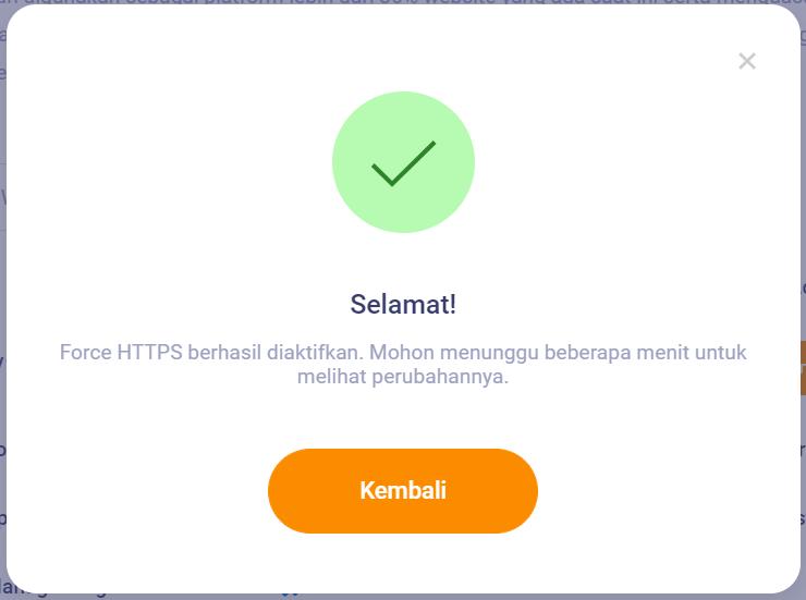 Force HTTPS Berhasil Diaktifkan