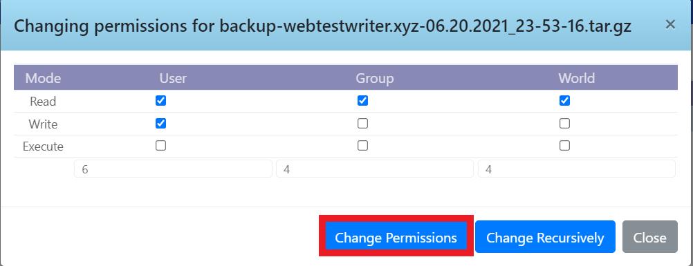Mengganti permission file backup
