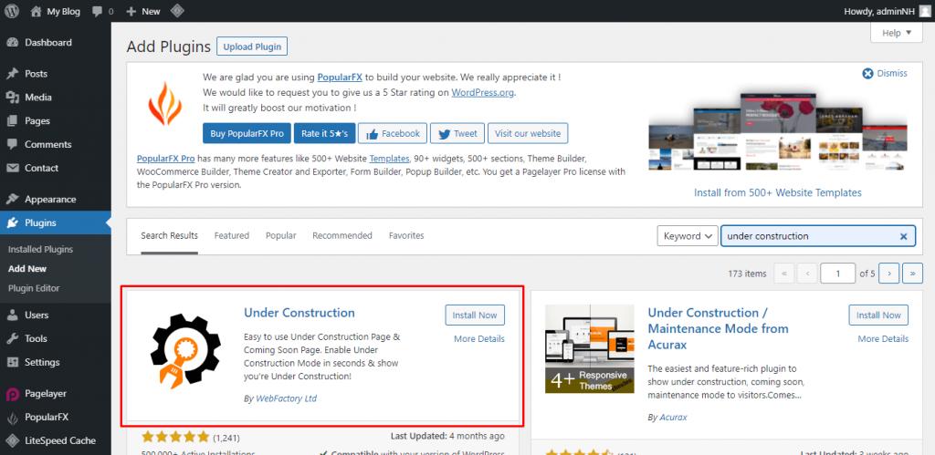 Cara Membuat halaman Under Maintenance, Install dan Aktifkan Plugin Under Construction