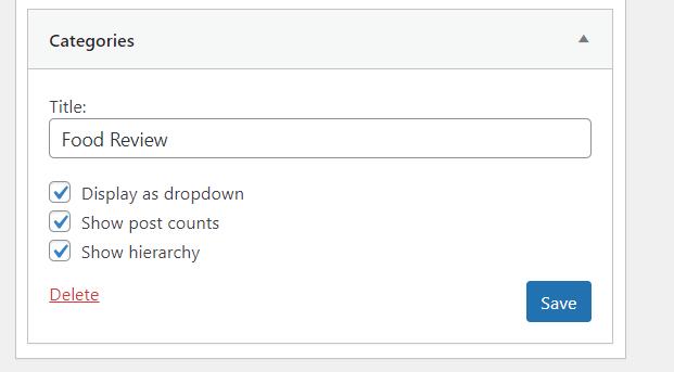 widget wordpress categories