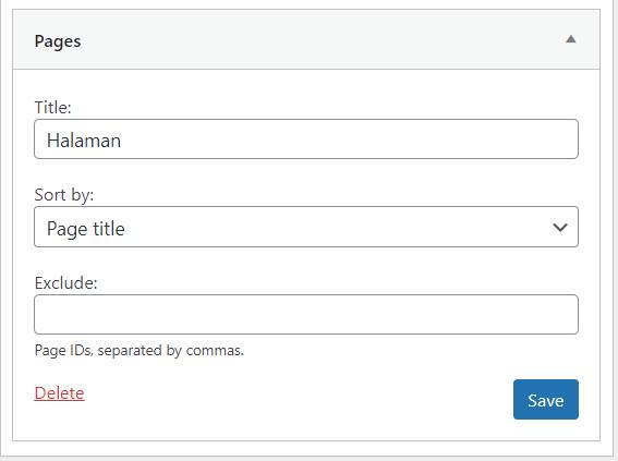 widget wordpress pages