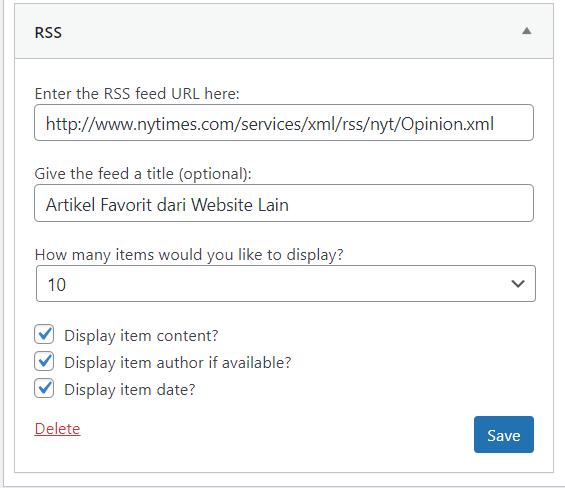 widget wordpress rss