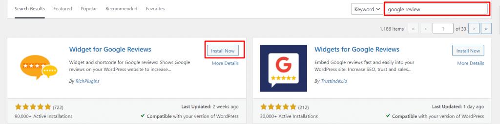 search widget google review