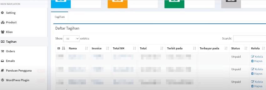 Dashboard transaksi Niagahoster Partner