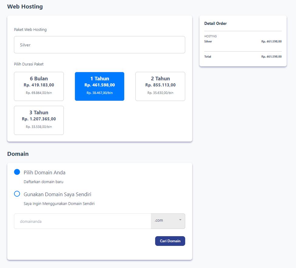 Landing page DakiHoster dari plugin NiPa