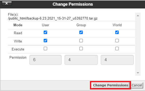 Ubah Change Permissions menjadi 644