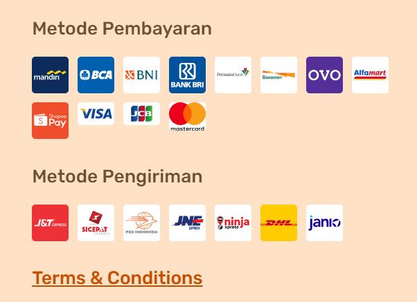 penggunaan logo metode pembayaran dan pengiriman