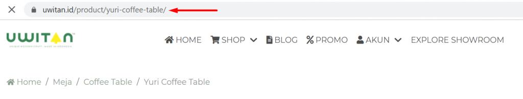 contoh optimasi url halaman produk