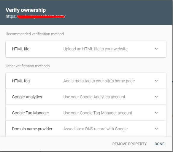 Pilih Metode Verifikasi Google Webmaster