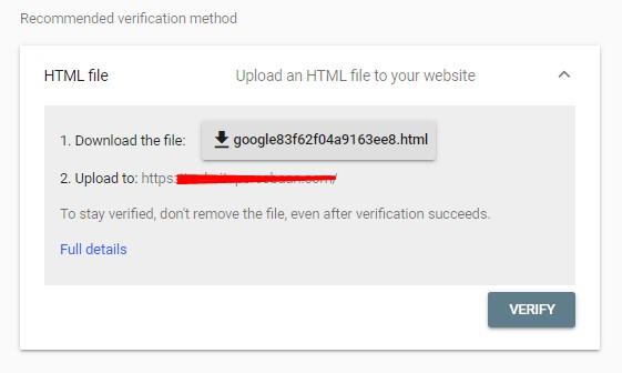 Verifikasi Google Webmaster pakai HTML File