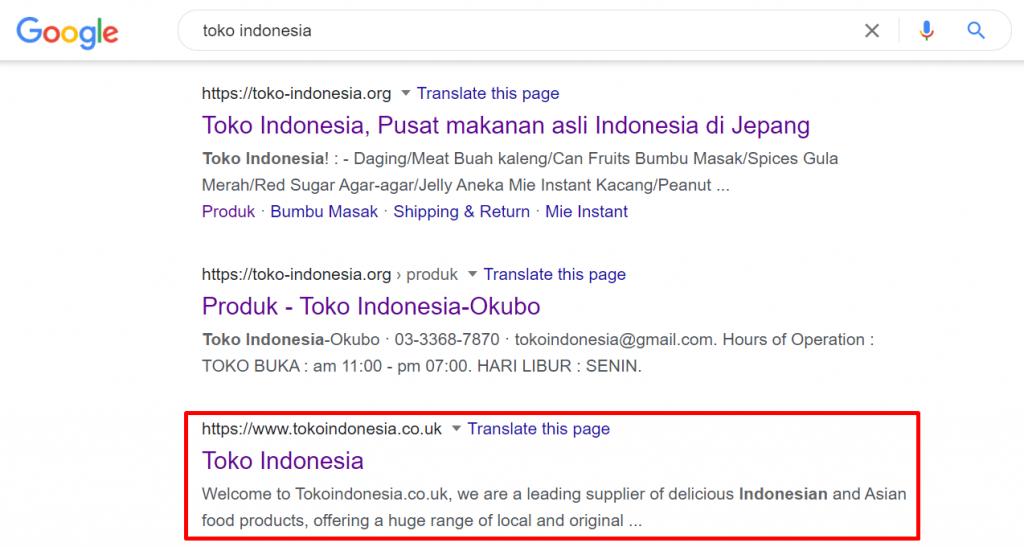 hasil pencarian google toko indonesia