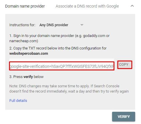 Verifikasi menggunakan Domain Name Provider