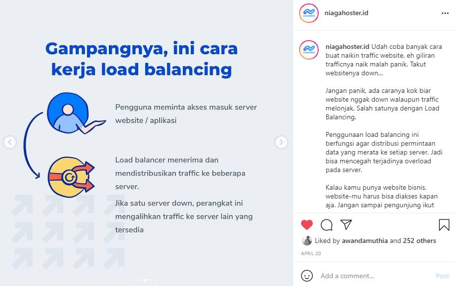 Buat Konten Khusus di Instagram, contoh postingan Niagahoster
