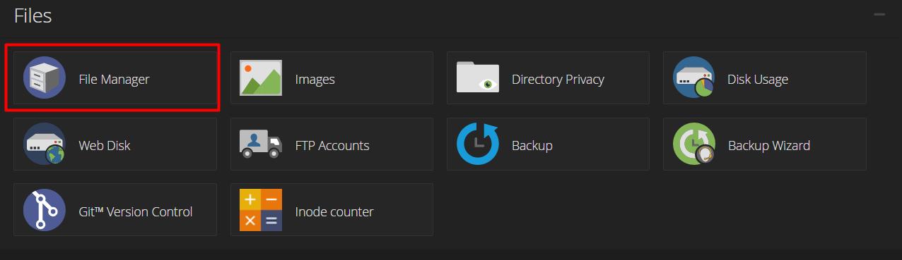 Menu File Manager di cPanel