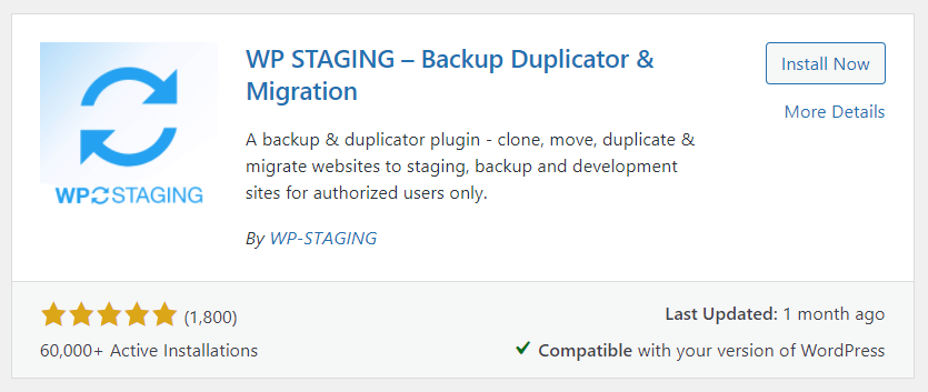 Install plugin WP Staging