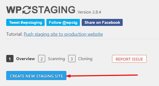 Tombol membuat website staging WP Staging