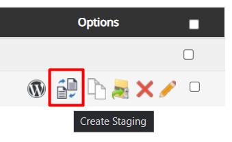 Tombol membuat staging di Softaculous Apps Installer