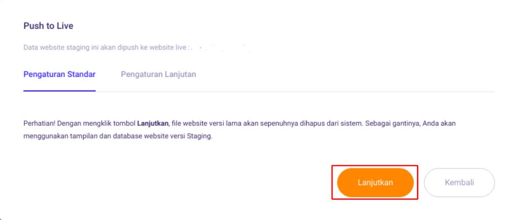 Pengaturan standar push staging di WordPress Management