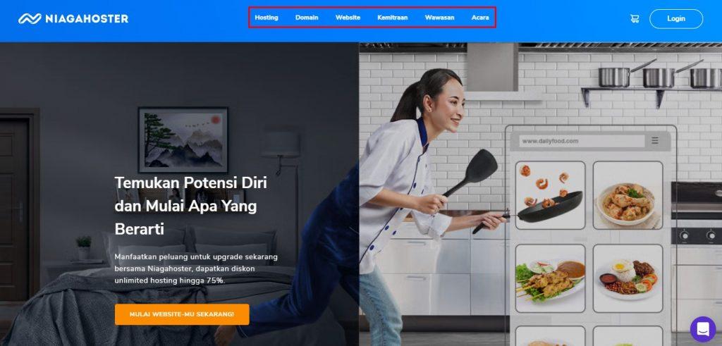 halaman website Niagahoster