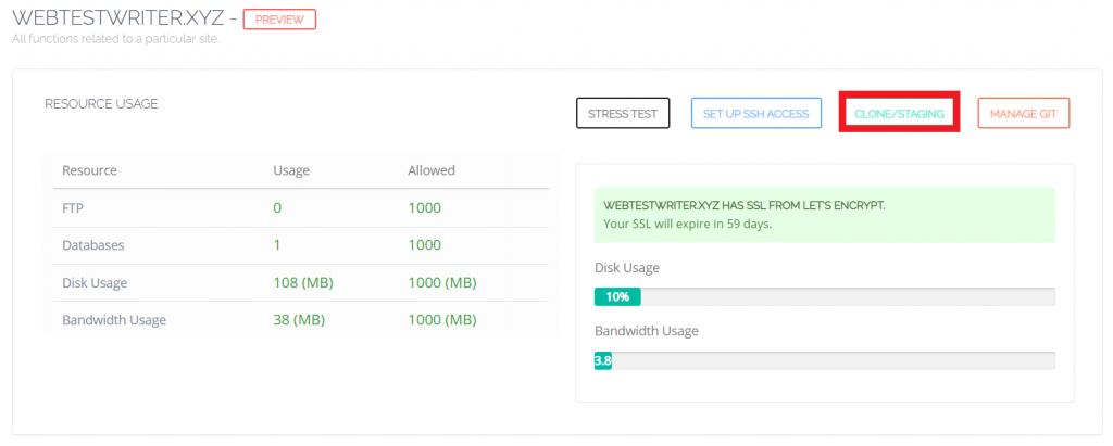 Klik Clone/Staging untuk setup environment staging