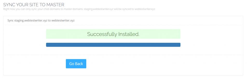 Berhasil sinkronisasi website staging ke master