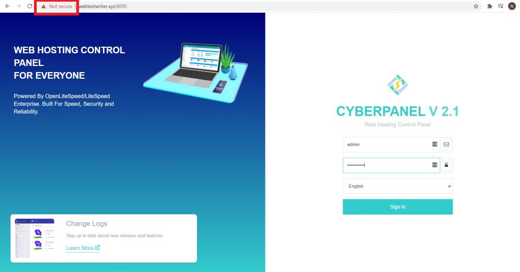 url login cyberpanel not secure