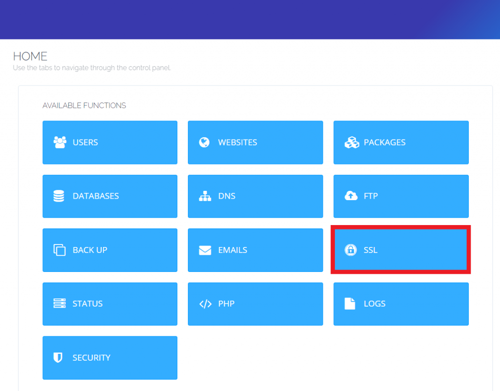 Menu SSL di dashboard CyberPanel