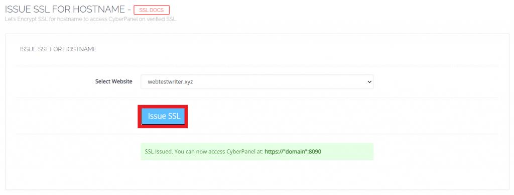 Issue SSL untuk hostname