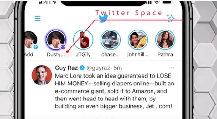 tampilan spaces di Twitter