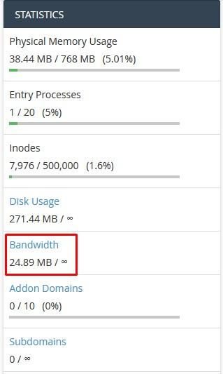 Cek Bandwidth Melalui Statistics cPanel